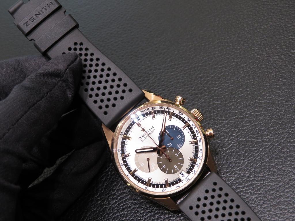 IMG_2209 上品な「エル・プリメロ 42㎜」ローズゴールドモデル、夏はゼニスの純正ラバーストラップで - CHRONOMASTER