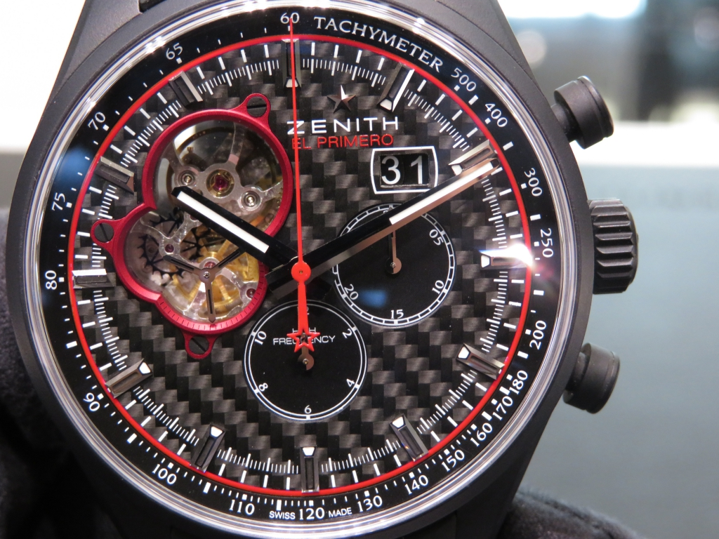 ゼニス生産終了モデル!赤と黒のカラーリングが絶妙!スポーティなエル・プリメロ オープン ブリット - CHRONOMASTER  IMG_4411