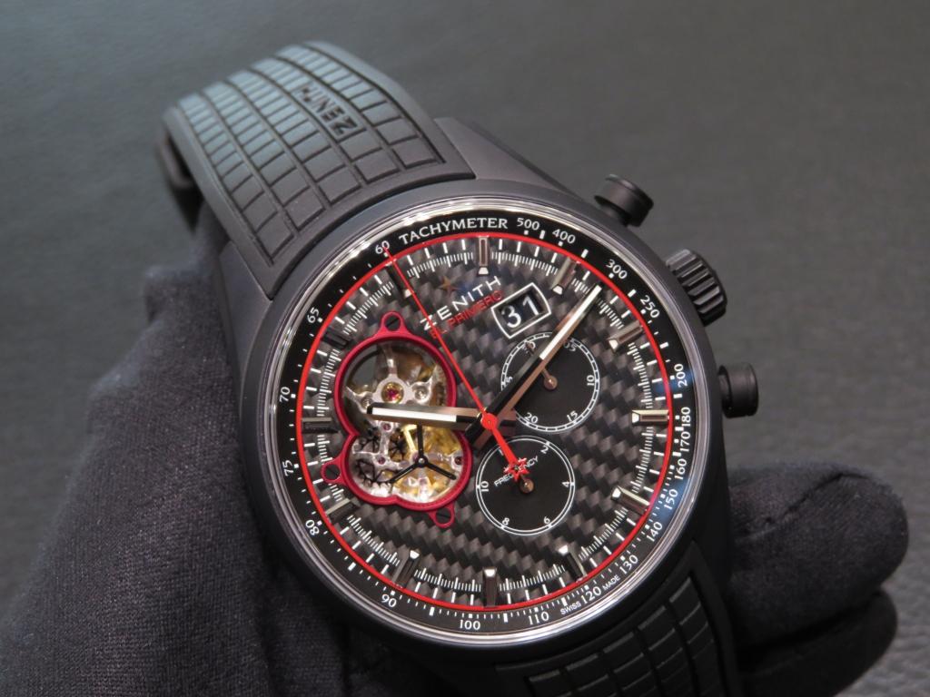 ゼニス生産終了モデル!赤と黒のカラーリングが絶妙!スポーティなエル・プリメロ オープン ブリット - CHRONOMASTER  IMG_4412