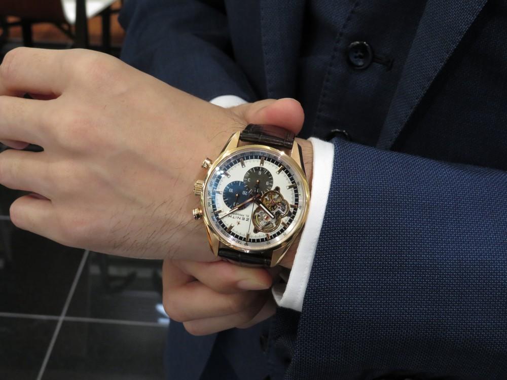 IMG_5821 半袖の腕に何げなく着けていてもカッコ良いです!18Kローズゴールド素材がすごく綺麗なエル・プリメロ オープン - CHRONOMASTER