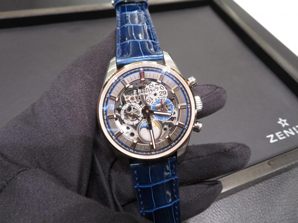 IMG_6145 N様のグランドデイトフルオープンにブルーの綺麗なオーダーベルトを付け替えしました。 - CHRONOMASTER ベルト/ストラップ