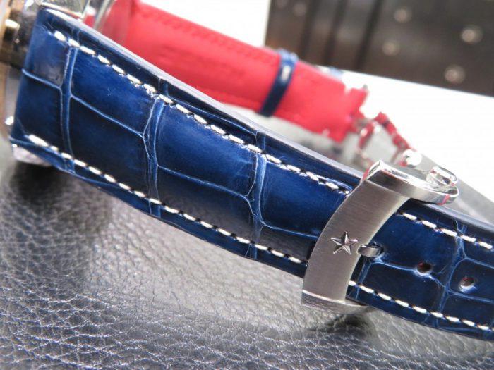 グランドデイト フルオープンに合わせブルーのオーダーベルトをオーダー頂きました! - CHRONOMASTER ベルト/ストラップ  IMG_7097-700x525