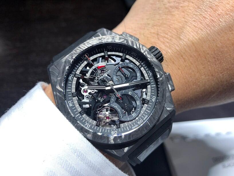 IMG_7239 2019年バーゼル発表の「デファイ エル・プリメロ21」ブラックカーボンモデル! - DEFY