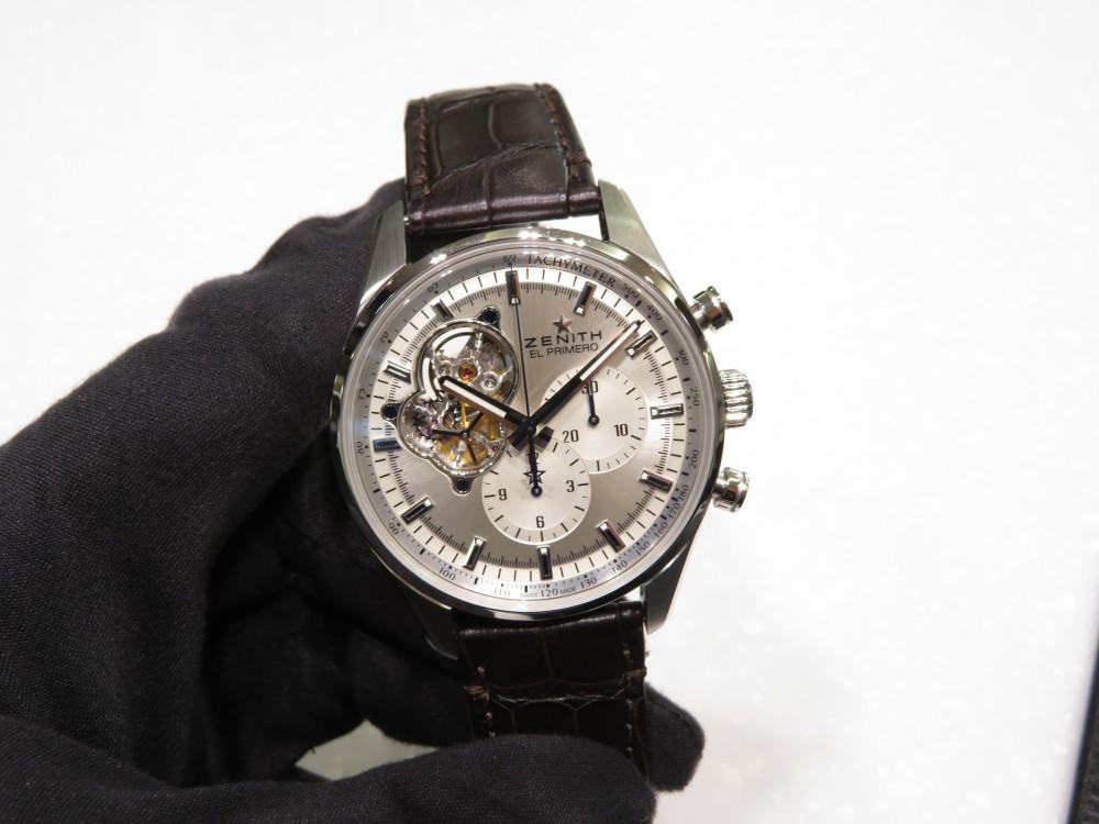 IMG_7711 綺麗なシルバーダイヤルからZENITHが誇るエル・プリメロがちらり。エル・プリメロ オープン - CHRONOMASTER