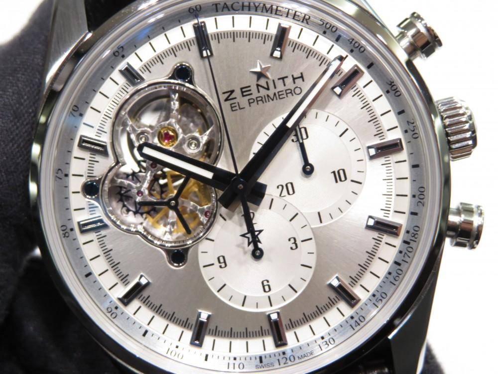 IMG_7713 綺麗なシルバーダイヤルからZENITHが誇るエル・プリメロがちらり。エル・プリメロ オープン - CHRONOMASTER