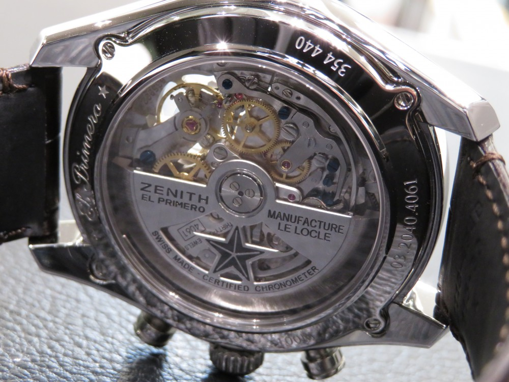 IMG_7721 綺麗なシルバーダイヤルからZENITHが誇るエル・プリメロがちらり。エル・プリメロ オープン - CHRONOMASTER