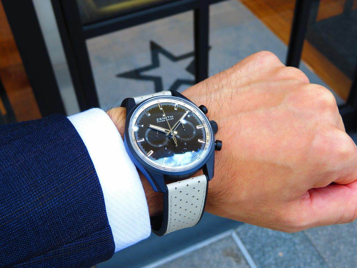 IMG_9904 青い空、青い海、焼けた肌 黒い時計!ゼニスエルプリメロ42㎜セラミナイズドアルミニウム素材 - CHRONOMASTER