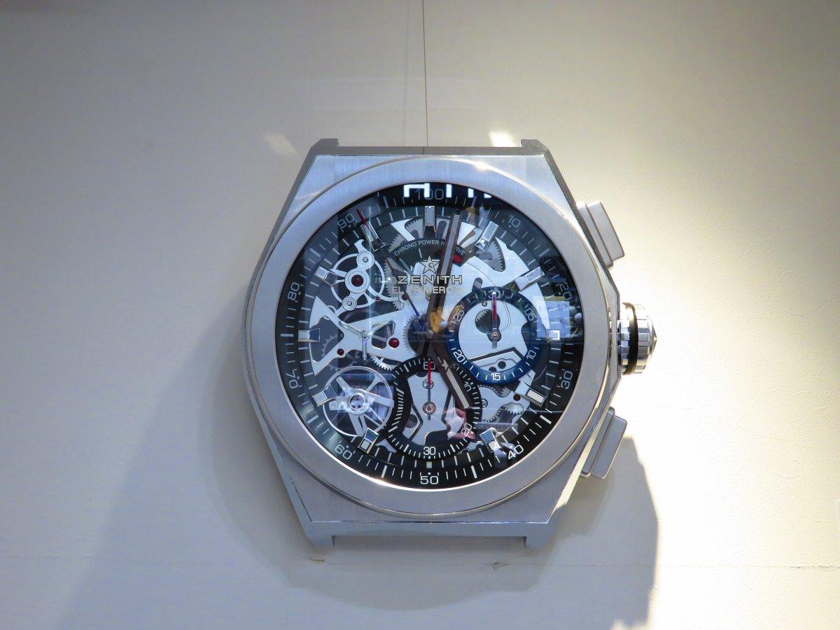 IMG_0050 ゼニスブティック大阪店内にあったゼニスの壁掛け時計がデファイ エル・プリメロ21に変わりました♪ - DEFY ご案内