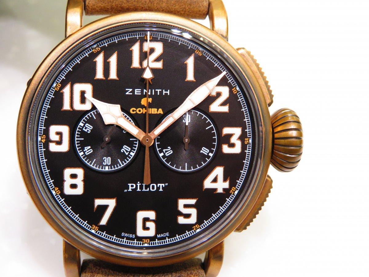 IMG_0086 限定150本、COHIBAとゼニスがコラボしたパイロットウォッチ。ブロンズケースで世界にひとつだけの仕上がりに! - PILOT