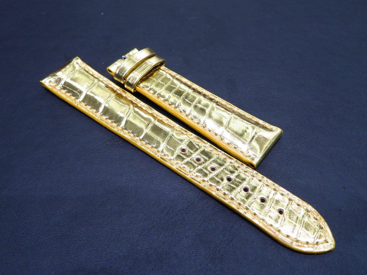 IMG_0875 自身のオリジナルレザーストラップを作る!綺麗なゴールドアリゲーターオーダーストラップ。 - CHRONOMASTER ベルト/ストラップ お客様