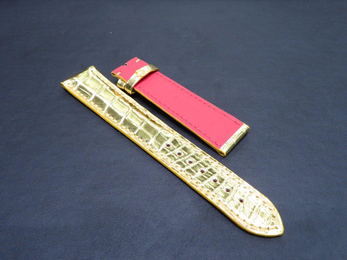 IMG_0876 自身のオリジナルレザーストラップを作る!綺麗なゴールドアリゲーターオーダーストラップ。 - CHRONOMASTER ベルト/ストラップ お客様
