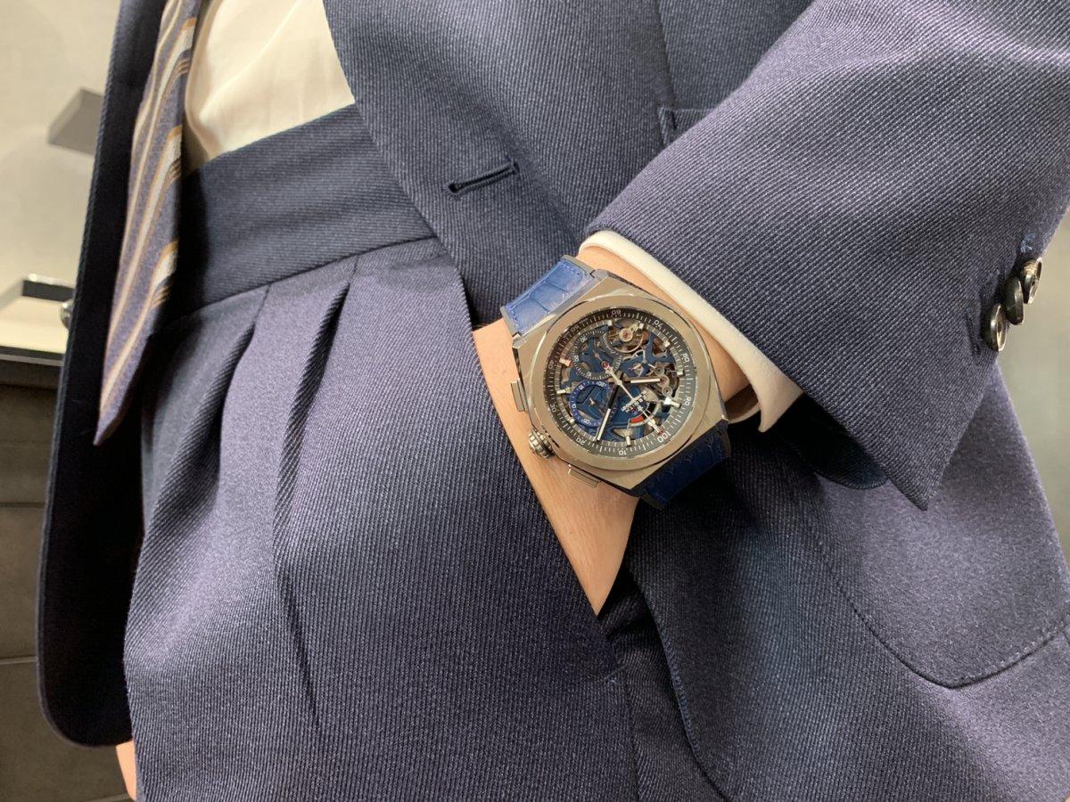 IMG_3326 スケルトンとブルーカラーのダブルパンチ!スーツスタイルにもおすすめの【デファイエル・プリメロ21】 - DEFY