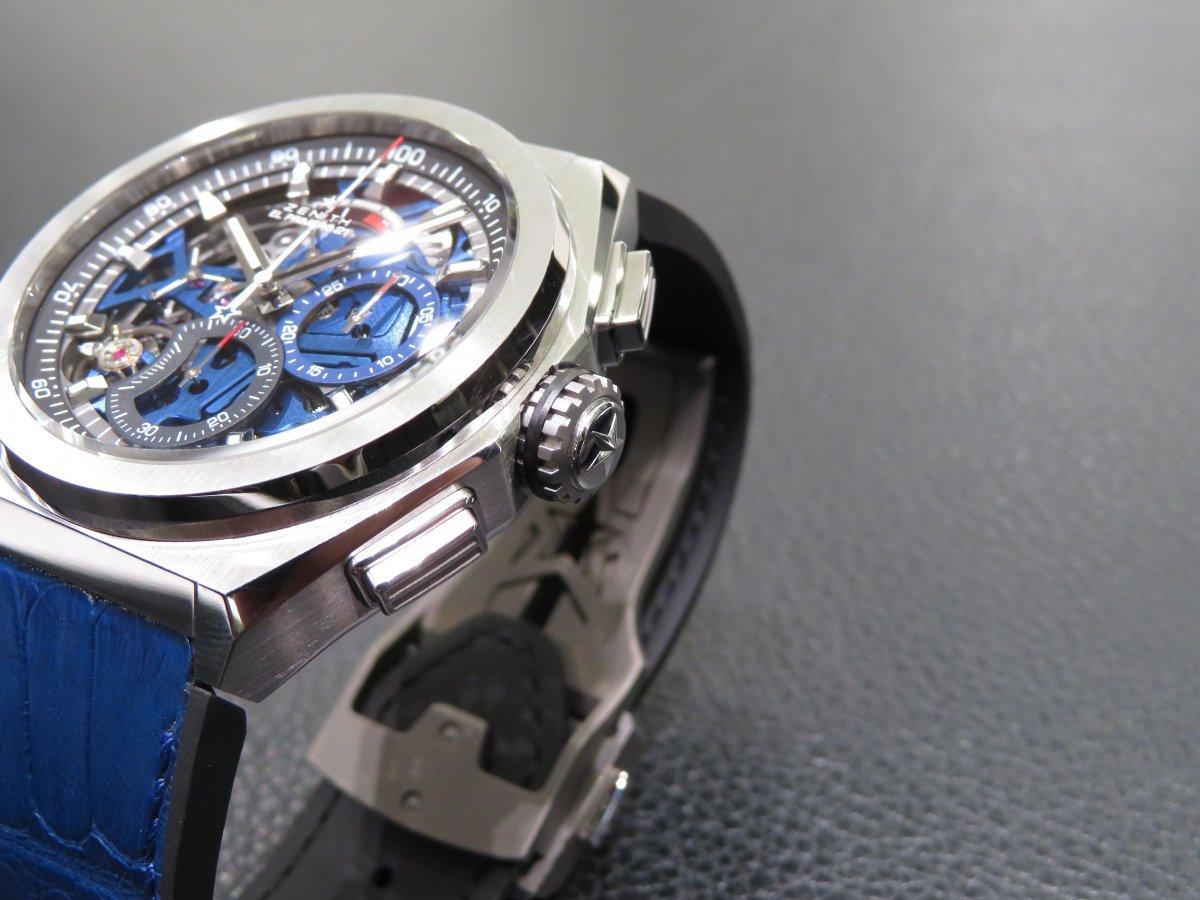 IMG_0955 スケルトン文字盤の中に綺麗なブルー!デファイエルプリメロ21スケルトンブルーはメカニックデザインの中に爽やかさを残します。 - DEFY