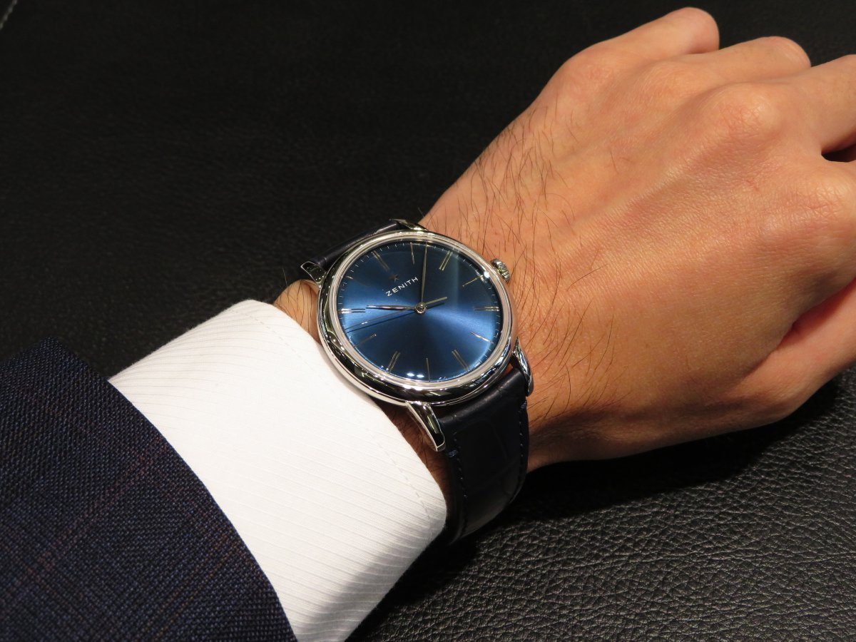 IMG_1081 スーツにも良く似合うブルー文字盤のシンプルモデル!エリートクラシック39㎜ - ELITE