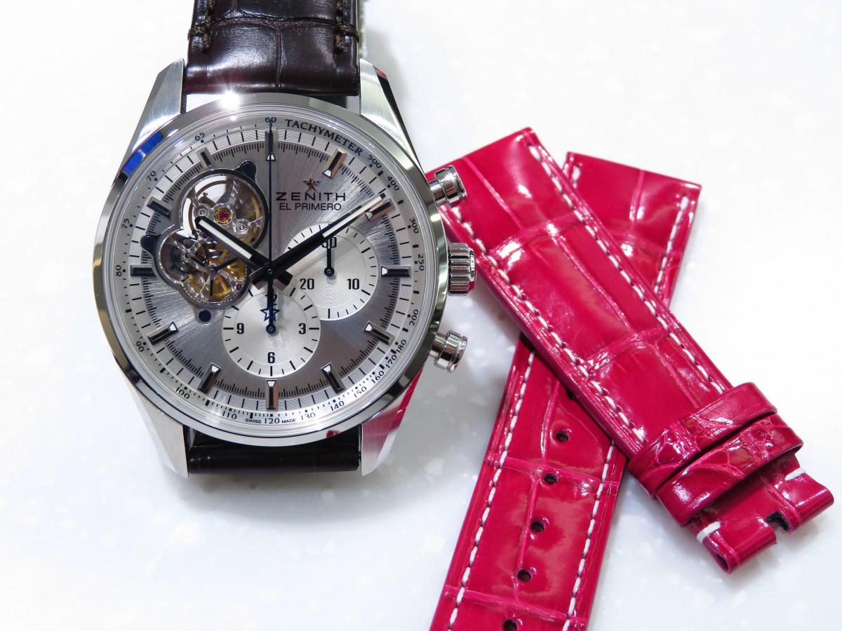 IMG_2482 可愛いピンクのオーダーベルトでT様ご愛用の「エル・プリメロ オープン」を女性らしく! - CHRONOMASTER ベルト/ストラップ お客様