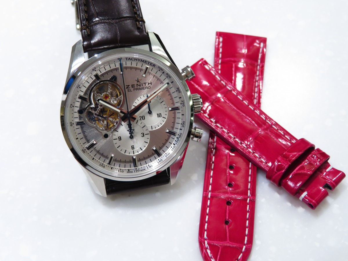 IMG_2483 可愛いピンクのオーダーベルトでT様ご愛用の「エル・プリメロ オープン」を女性らしく! - CHRONOMASTER ベルト/ストラップ お客様