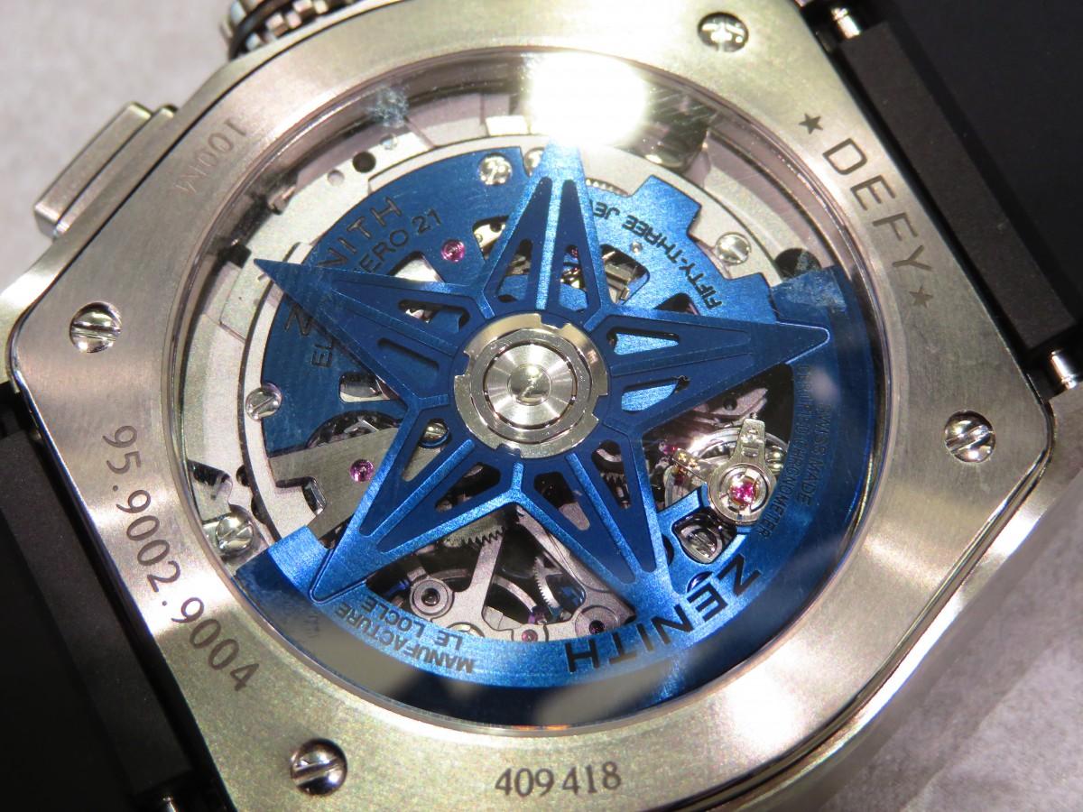 IMG_2556 100分の1秒を図れる唯一のクロノグラフモデル、ブルーの配色がとても爽やかでおしゃれなデファイ エルプリメロ21 - DEFY