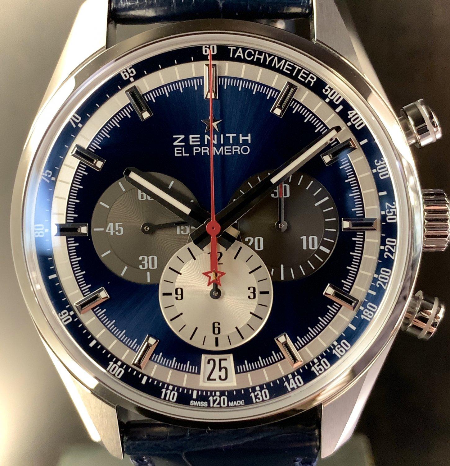 IMG_E2108 サンレイ仕上げのブルー文字盤が美しい「クロノマスター エル・プリメロ」 - CHRONOMASTER